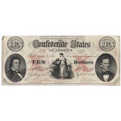 Confederate Currency: September 2, 1861 $10 Confederate States of America - T-30.