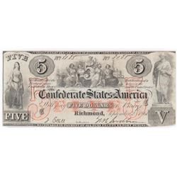 Confederate Currency: September 2, 1861 $5 Confederate States of America - T-31.
