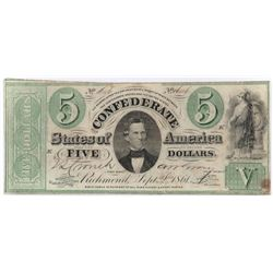 Confederate Currency: September 2, 1861 $5 Confederate States of America - T-33.