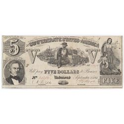 Confederate Currency: September 2, 1861 $5 Confederate States of America - T-37.