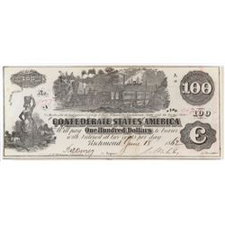 Confederate Currency: May 5, 1862 $100 Confederate States of America - T-39.