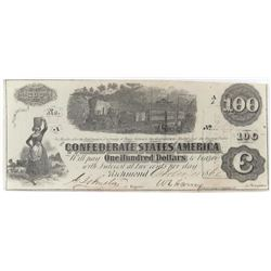 Confederate Currency: August 8, 1862 $100 Confederate States of America - T-40.