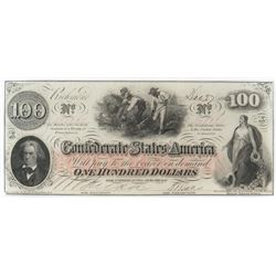 Confederate Currency: August 26, 1862 $100 Confederate States of America - T-41.