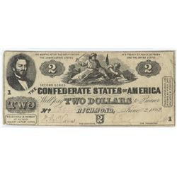 Confederate Currency: June 6, 1862 $2 Confederate States of America - T-42.