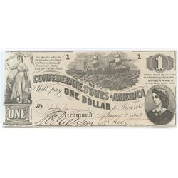 Confederate Currency: June 2, 1862 $1 Confederate States of America - T-44.