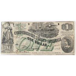Confederate Currency: June 6, 1862 $1 Confederate States of America - T-45.