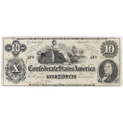 Confederate Currency: September 2, 1862 $10 Confederate States of America - T-46.