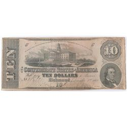 Confederate Currency: December 2, 1862 $10 Confederate States of America - T-52.