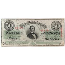 Confederate Currency: April 6, 1863 $50 Confederate States of America - T-57.