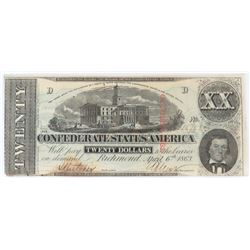Confederate Currency: April 6, 1863 $20 Confederate States of America - T-58.