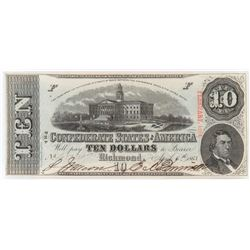 Confederate Currency: April 6, 1863 $10 Confederate States of America - T-59.