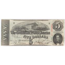 Confederate Currency: April 6, 1863 $5 Confederate States of America - T-60.