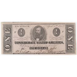Confederate Currency: April 6, 1863 $1 Confederate States of America - T-62.