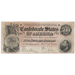 Confederate Currency: February 17, 1864 $500 Confederate States of America - T-64.