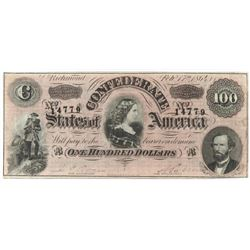 Confederate Currency: February 17, 1864 $100 Confederate States of America - T-65.