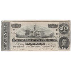 Confederate Currency: February 17, 1864 $20 Confederate States of America - T-67.