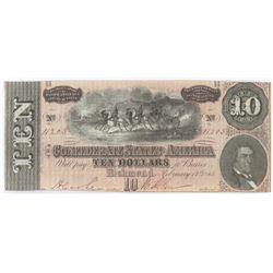 Confederate Currency: February 17, 1864 $10 Confederate States of America - T-68.