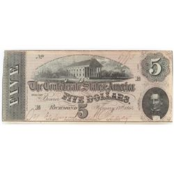 Confederate Currency: February 17, 1864 $5 Confederate States of America - T-69.
