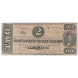 Confederate Currency: February 17, 1864 $2 Confederate States of America - T-70.