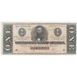 Confederate Currency: February 17, 1864 $1 Confederate States of America - T-71.