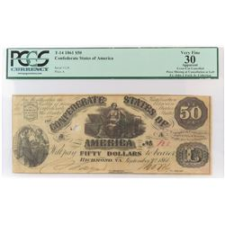 Confederate Currency: September 2, 1861 $50 Confederate States of America - T-14. PCGS Certified