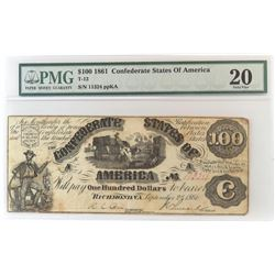 Confederate Currency: September 2, 1861 $100 Confederate States of America - T-13. PMG Certified Ve
