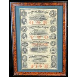 Obsolete Currency Sheet: 1800's Uncut Sheet Nebraska Territory - Western Exchange Fire  Marine Insu