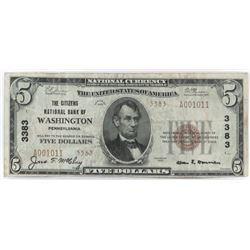 1929 Ty.2 $5 National Currency Note - The Citizens National Bank of Washington, Pennsylvania. CH# 3