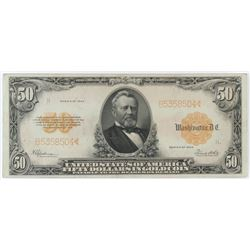 1922 $50 Gold Certificate Note. FR# 1200.