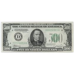 1934-A $500 Federal Reserve Note. FR# 2202-D.