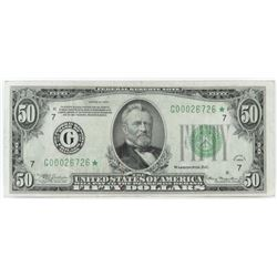 Star Note: 1934 $50 Federal Reserve Note. FR# 2102-G*.