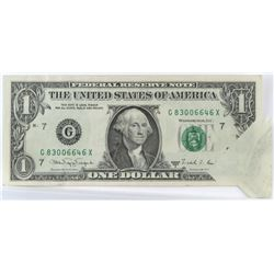 Error Note: 1988 $1 Federal Reserve Note - Butterfly Fold.