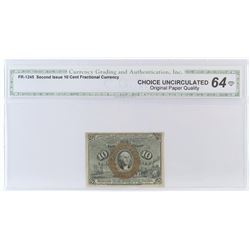 Fractional Currency: Second Issue 10 Cent. FR# 1245. CGA Certified CU64.