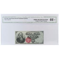 Fractional Currency: Fourth Issue 50 Cent. FR# 1376. CGA Certified GU66.