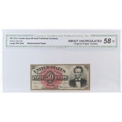 Fractional Currency: Fourth Issue 50 Cent. FR# 1374. CGA Certified AU58.