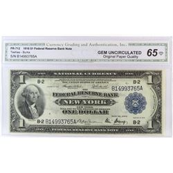 1918 $1 Federal Reserve Note - New York. FR# 712. CGA Certified GU65.