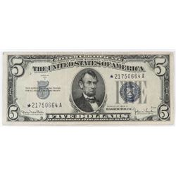 Star Note: 1934-D $5 Silver Certificate Note. FR# 1654*.