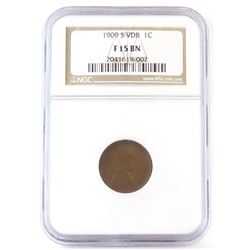 1909 S VDB Lincoln Wheat Cent. NGC Certified F15BN.