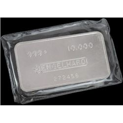 Engelhard 10oz. - .999+ Silver Ingot - wide, pressed Bull Logo with Dot. Serial # 272456.
