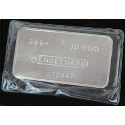 Engelhard 10oz. - .999+ Silver Ingot - wide, pressed Bull Logo with Dot. Serial # 272447.