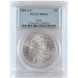 GSA: 1881 CC Morgan Dollar - GSA. PCGS Certified MS64.