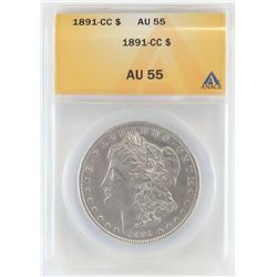 1891 CC Morgan Dollar. ANACS Certified AU55.