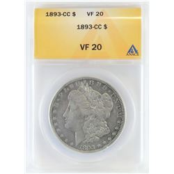 1893 CC Morgan Dollar. ANACS certified VF20.