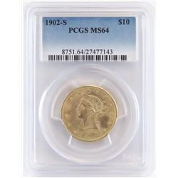 1902 S $10 Liberty Gold. PCGS Certified MS64.