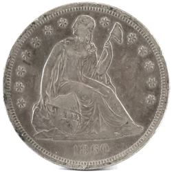 1860 O Seated Liberty Dollar.