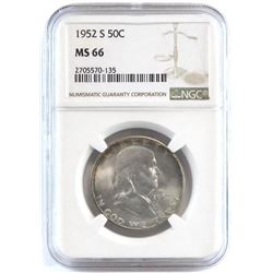 1952 S Franklin Half Dollar. NGC Certified MS66.