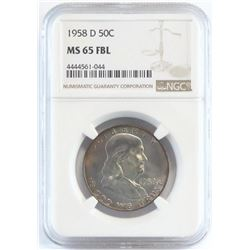 1958 D Franklin Half Dollar. NGC Certified MS65FBL.