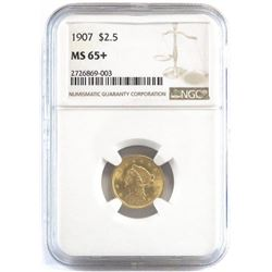 1907 $2.50 Liberty Gold. NGC Certified MS65+.