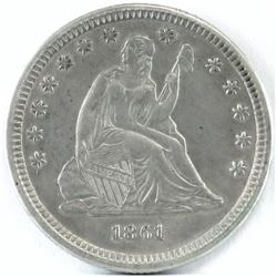 1861 Seated Liberty Quarter.