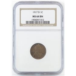 1917 D Lincoln Wheat Cent. NGC Certified MS64BN.